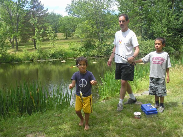 FinnAndrewRoy: My husband Andrew was fishing with my son Roy (right) and their cousin Finn at Hull's Christmas tree farm on July 2 (Family Reunion).